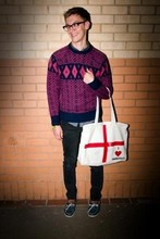 MICHAEL PEGRUM - Vintage Jumper, Soccer Scene I Heart Footballer Bag, Vintage But Unworn Deck Shoes, Cheap Monday Black Jeans - NU-POSH