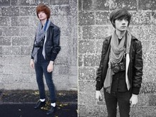 CLEMENT LOUIS . - Leather Jacket, Cheap Monday Slim, Zara Scarf, Zenith Camera, Frip Shoes Leather - Clément louis winter style .