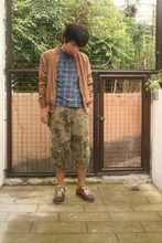 Ziggy Savella - Me For Memo Overdyed Jacket, Ben Sherman Checked Flat Knit Shirt With Dickey, Topman Camo Cargo Shorts, Adidas Colored Kicks - I need a comb