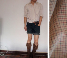 Josh H. - Thrifted Shirt With Blue/Red Checks, Tan Weave Belt, Topman Denim Shorts, Diy Ed From Jeans, Moccasins - Moccasins & Denim Shorts!