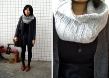 Yan Chen - Dark Blue Shorts, +-×÷ Brown Bag, Naning9 Brown Vintage Shoes, Twopercent Grey Scarf, Black Knit Shirt, Grey Cardigan - Cold day...