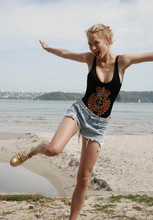 Zanita Who - Vintage Byblos One Peice Swimsuit, Levi's® Cuttoff Shorts, Palm Beach Shoes Sequin - Byblos'n'bling