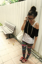 Tammy Tay - Local Store Ripped Back Tank, My Shop! Lacey Fringe Cropped Tee, Cotton On Big Canvas Shopping Bag, Bangkok Market Colourful Zig Zag Leggings, Studded Fringe Sandals - Colourful Leggings