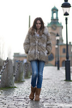 Caroline B - H&M Fur, Acne Studios Jeans, Ugg Shoes - Today