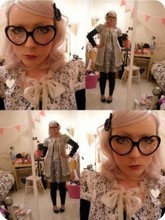 Laura Ross - Made By Me Heart Hair Slide, Camden Market Glasses, Made By Me Brooch, Armstrongs Vintage Lace Nightwear, Topshop Leopard Print Dress - Tomorows outfit...