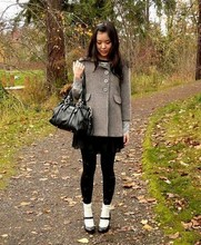 M C - See By Chloé Mohair Coat, H&M Black Skirt, Miu Black Leather Purse, Eloise Ribbon Stockings And White Socks, Martin & Osa Black Mary Janes - Let's take a walk in the park