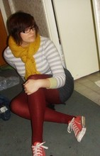 Vanessa Vaillant - H&M Superlong Scarf, Joe Fresh Stripey Sweater, Dolce & Gabbana Glasses, American Apparel Grey Mix High Waisted Skirt, H&M Ribbed Tights, Converse Faded Red Lowtops - I felt you in my legs before i ever met you