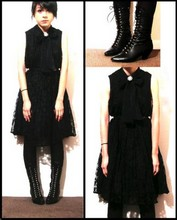 Sister Ray X - Vintage Lace Up Boots, Black Lace Dress, Cameo The Label Vintage - In Black Lace