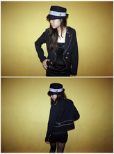 Tammy Tay - Forever 21 Hat, Forever 21 Military Blazer, Wetlook Tank, Topshop Stockings - Go Military