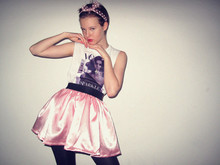 Arvida Byström - T Shirt With Vogue Cover Print, Homemade Skirt, Bow, Necklaces - COVERED IN COVER.