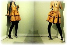 Trixie Encomienda - Own Design Jaclyn Dress, Gold Wedges - Orange juice