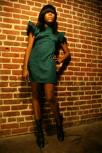 MISS MARS CLOTHING - Miss Mars Green W/Black Sleevefull Short - Wallpaper reverie