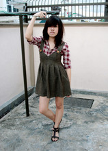 Jasmine Leong - Mum's Checkered Shirt, Junkyard Sale Knitted Pinafore, Singapore Gladiators - Hi, I'm 3 feet tall.