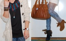 Sara Borell - Bikbok Cardigan, Monki Top, Friis And Company Bag, Cheap Monday, Shoes, Ur&Penn Watch - I looove feathers and fringes.