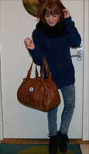Sara Borell - Pennies Knitted Scarf, My Brothers Cardigan, Friis And Company Leather Bag, Cheap Monday, Shoes - First picture in my brown new hair.