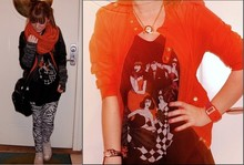 Sara Borell - T Shirt Store Watch, American Apparel Zebra Tights, My Mothers Scarf, Adidas Bag, Converse Shoes, Weekday Half Gloves, H&M Jacket, H&M Tank, H&M Necklace - Orange and black + the zebra