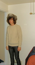 Christopher Paul - H&M Faux Fur Hat, Uniqlo Wool Cable Knit Sweater, Cheap Monday Tight Jeans - D