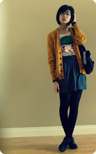 Natalie W - Value Village Mustard Grandpa Cardigan, American Apparel Aa Melange Pocket Skirt, Winners Cut Out Leggings, Spring Black Oxfords, Zara Blythe Like T Shirt - I couldn't find the ketchup...