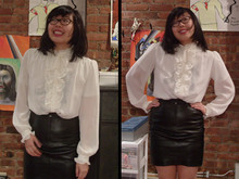 Pamela L - White Blouse From Amarcord, Vintage Valentino Skirt - Dragon undershirt.