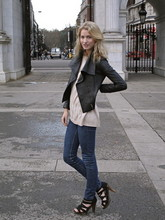 Zanita Who - From Susie And Rach Leather Jacket, H&M Knit Shirt, Wrangler Jeans, Mollini Heels - At Marble Arch