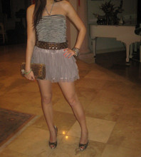 Molly Liu - Bebe Halter Top, H&M Skirt, Ronny Kobo Clutch - CLUBBING! friday night the other weekend about to head out....