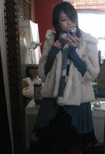 Chia Wen - New Look Fake Fur Jacket, Paul Smith Scarf, Lux Blue Cardigan, Lux Black Dress - New year
