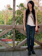Caroline W. - Gap Cream Tank Top, Thrift Town Bag, Forever 21 My Only Jeans That Fit, Colcci Shell Boots, Bunnyluck, Elle Faux Fur Vest - Search for delicious