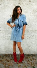 Stiffy - Ideas Acid Wash Denim Dress, Betsey Johnson Hot Hot Boots, Chang Bangles - Hey baby, take a walk...