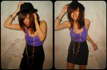 Jasmine Leong - Online Blogshop Fedora, Best Friend's Indian Bangles, Forever 21 Rainbow Necklace, Thrift Store Purple Racerback Tank, Mum's Old Skirt Worn As High Waisted - They Need More Ordinary Pictures Around Here. Ta-da!