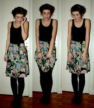 Torunn Splitter - H&M Black Top, Indiska Floral Skirt, åHléNs Black Stockings - I'd rather dance with you