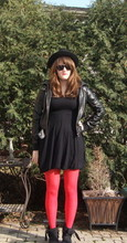 Bri C. - Asos Dress, Asos Red Tights, Office Boots, Scala Fedora, Topshop Jacket - My tights are redder than this