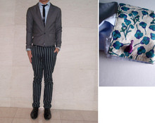 Josh H. - Black Satin Tie, Blue Shirt With Reversable Floral Cuffs With Chinese Knot Closure, Gray Single Button Tuxedo Cut Jacket, Pin Striped Skinny Cut Slacks, Zara Patent Lace Ups - Floral cuffs, baby!