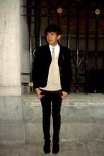 Adriano Navor - Zara Sweater, Bsk Jeans, Nyc Coat, Vampire Jewel, George House Shoes, George House Tie - Red Morning