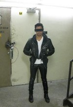 Gregory Alexander - Black Vinyl Pants, Leather Motorcycle Jacket, Incognito Censor Bar Sunglasses, Black Lace Up Boots - M