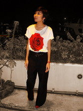 Ub-ib Indradat - You Must Know Me Before Die Red Rose T Shirt, Tiger Seven High Waisted Pant, Zara Red Open Toed - My Valentine's