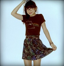 Debra Teoh - Junkfood Pink Floyd Tee, Vtg Belt, Diy Floral Paint Print Skirt - Daddio of the Deva Dimensions