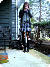 Dayna M. - Forever 21 Faux Leather Jacket, Gina Tricot Gray Asymmetrical Sweater, Bdg Plaid Oversized Shirt, Myself Diy Tights, Leg Warmers, Zara Lace Up Oxford Heels - Lighting up my camel filter cigarette