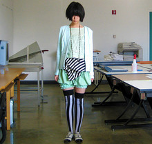Brooke Kao - Hego's Black And White Jazz Shoes, Rumours [Secondhand] Silver Fan Watch Necklace, H&M Structured Knit Light Aqua Jacket, Uniqlo Sea Green Cashmere T Shirt, Limited Too [Secondhand] Striped Jersey Tube Dress, H&M Sea Green Tube/Bubble Skirt, [Secondhand] Sea Green Pettipants, Vertical Black And White Striped Stockings - I like repetition.