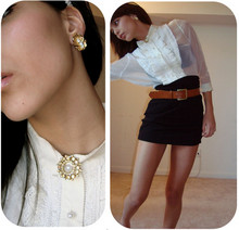 Julia Monson - H&M High Waisted Skirt, Salvation Army Belt, Salvation Army Vintage Blouse, Grandmothers Vintage! - Half Of What I Say Is MeaningLess