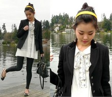 M C - Talula Black Blazer, American Apparel Black Leggings, Chanel Ballet Flats, Miu Purse, Betsey Johnson Earrings - Wock the dock
