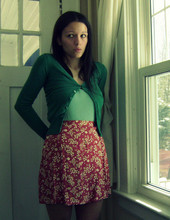 Danielle F - H&M Green Cardigan, Sparkle Light Green Tank, Gap Red Floral Skirt - ... it's all completely random. hummingbird.