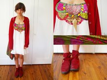 Stephanie C. - Handmade Velvet Flat Ankle Boots, Red Slouchy Cardigan, Tree Of Life Patchwork Detailed Dress, Large Fabric Bag W/ Leather Strap, Diva Wing Shaped Necklace - Wrapped in piano strings