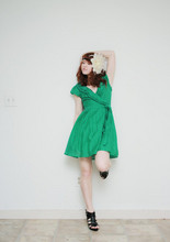 "Chrissie White - Forever 21 Flower Headband, Forever 21 Heels, Jujubees Green Wrap Dress - "" the sexy pose """