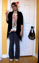 Samantha C. - Handmade From Old Scrap Fabric Heaband, Banana Republic Shawl, Silk Screen Print Skirt As Top, Corduroys, Secondhand Pumps - Peace, Love, and Corduroy Pants