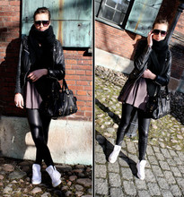 Angelica Sjöstrand - Zara Sunglasses, Mission Mc Jacket, Lindex Leggings, Converse Shoes, Friis & Co Bag, H&M Scarf - Darth Vader