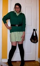 Samantha C. - Lacoste Green Jumper, Old Navy Striped Shirt Dress, Aldo Ankle Boots - I'll stick to you like mono