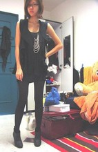 Emma Valentino - Cotton On Black Tank, Made By Me Black Chain Tank, Draped Vest, Black Boots - Chained in
