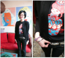 Marguerite Mengjie CHEN - Uniqlo Black Cardigan, Anna Sui Strawberry Cake Doll Tee, French Connection Uk Silver Belt, Uniqlo Skinny Denim Pants - Too Good to Be True