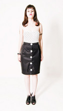 MISS MARS CLOTHING - Miss Mars New Collection Buttoned Pencil Highwaist Skirt, American Apparel Top - For your lungs only