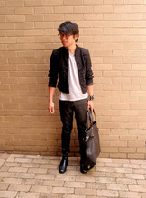 Josh H. - Zara Marching Band Inspired Cropped Jacket, Topman Gray V Neck Tee, Stockist Studded Distressed Leather Cuffs, Topshop Black Leather Skinnys, Seed Black Tote With Silver Hardware, Black Boots - Leatherpants!